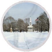 Snow Covered Guilford Round Beach Towel