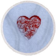 Snow-covered Heart Round Beach Towel