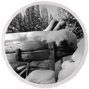 Snow Covered History Round Beach Towel