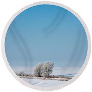 Snow Covered Landscape Round Beach Towel