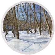 Snow Covered Path  Round Beach Towel