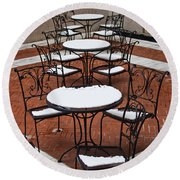 Snow Covered Patio Chairs And Tables Round Beach Towel