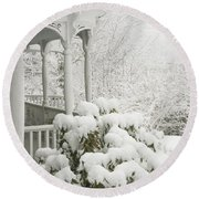 Snow Covered Porch Round Beach Towel