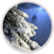 Snow Covered Tree Branches Round Beach Towel