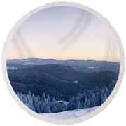 Snow Covered Trees On A Hill, Belchen Round Beach Towel