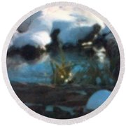 Snow Covered Waterscape Round Beach Towel