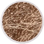 Snow Covers A Tree Branch In Winter Round Beach Towel