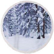 Snow-dappled Woods Round Beach Towel