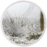 Snow Day In The Desert  Round Beach Towel by Saija  Lehtonen