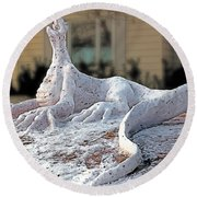 Snow Dragon Round Beach Towel