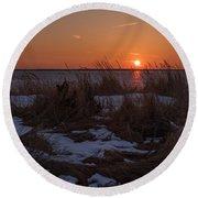 Snow Dune Sunset Seaside Park Nj Round Beach Towel