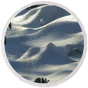 Snow Dunes Round Beach Towel