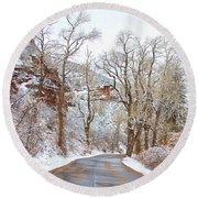Snow Dusted Colorado Scenic Drive Round Beach Towel