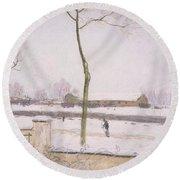 Snow Effect Effet De Neige Pastel On Paper C. 1880-1885 Round Beach Towel