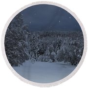 Snow Falling In A Forest Round Beach Towel