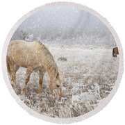 Snow Falling On Horses Round Beach Towel