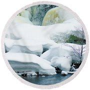Snow Formations Round Beach Towel