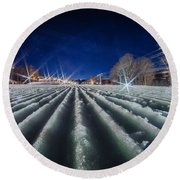 Snow Groomed Trail At A Ski Resort At Night Round Beach Towel