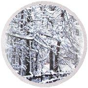 Snow-img-2174-merry Christmas Round Beach Towel