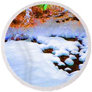 Snow In Color Round Beach Towel