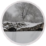 Snow In Plymouth Meeting Pa Round Beach Towel