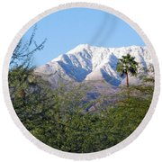Snow In The Desert Round Beach Towel