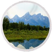 Snow In The Mountains Round Beach Towel