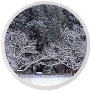 Snow In The Valley Round Beach Towel