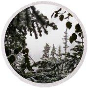 Snow In Trees At Narada Falls II Round Beach Towel