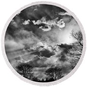 Snow Is In The Air Bw Round Beach Towel