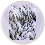 Snow Laden Branches Round Beach Towel