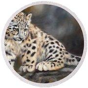 Snow Leopard Cub Round Beach Towel