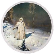 Snow Maiden 1899 By Vasnetsov  Round Beach Towel by Movie Poster Prints