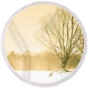 Snow Of Old Round Beach Towel