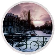 Snow On Canals. Amsterdam, Holland Round Beach Towel