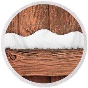 Snow On Fence Round Beach Towel by Tom Gowanlock