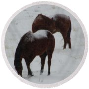 Snow On Horses Round Beach Towel