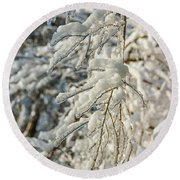 Snow On Ice Round Beach Towel