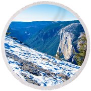 Snow On Sentinel Dome In Yosemite Np-ca Round Beach Towel