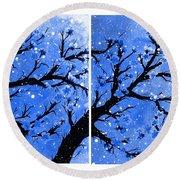 Snow On The Blue Cherry Blossom Tree Round Beach Towel