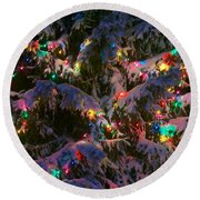 Snow On The Christmas Tree 1 Round Beach Towel