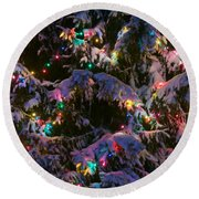 Snow On The Christmas Tree Round Beach Towel