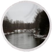 Snow On The Manistee River Round Beach Towel