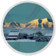 Snow On Utah Mountains Round Beach Towel