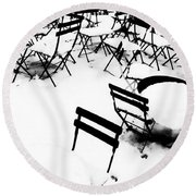 Snow Picnic Round Beach Towel by Diana Angstadt