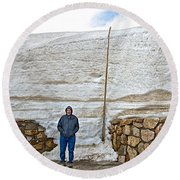Snow Piles At Alpine Visitor's Center In Rocky Mountain National Park-colorado Round Beach Towel