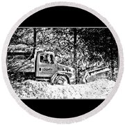 Snow Plow In Black And White Round Beach Towel
