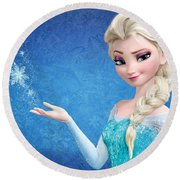 Snow Queen Elsa Frozen Round Beach Towel