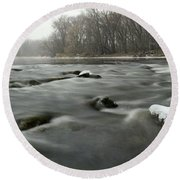 Snow Rapids Round Beach Towel