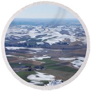 Snow Remnants On The Palouse Round Beach Towel